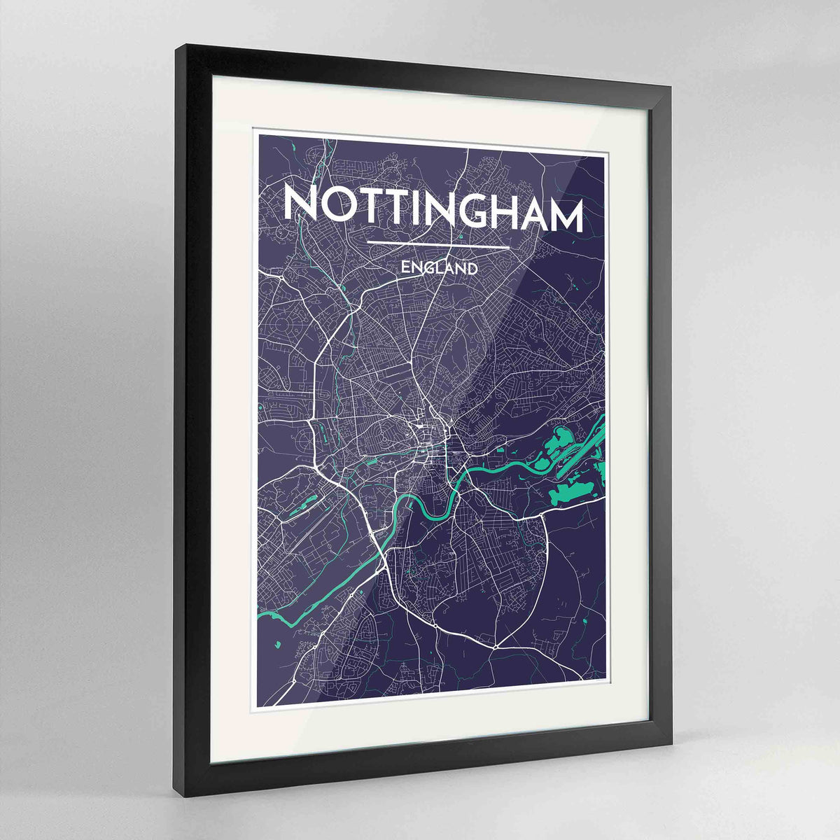 "Framed Nottingham Map Art Print 24x36"" Contemporary Black frame Point Two Design Group"