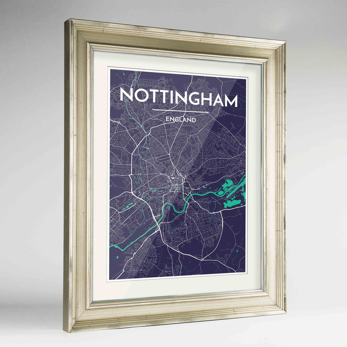 "Framed Nottingham Map Art Print 24x36"" Champagne frame Point Two Design Group"