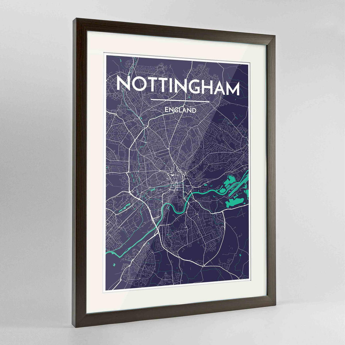 "Framed Nottingham Map Art Print 24x36"" Contemporary Walnut frame Point Two Design Group"