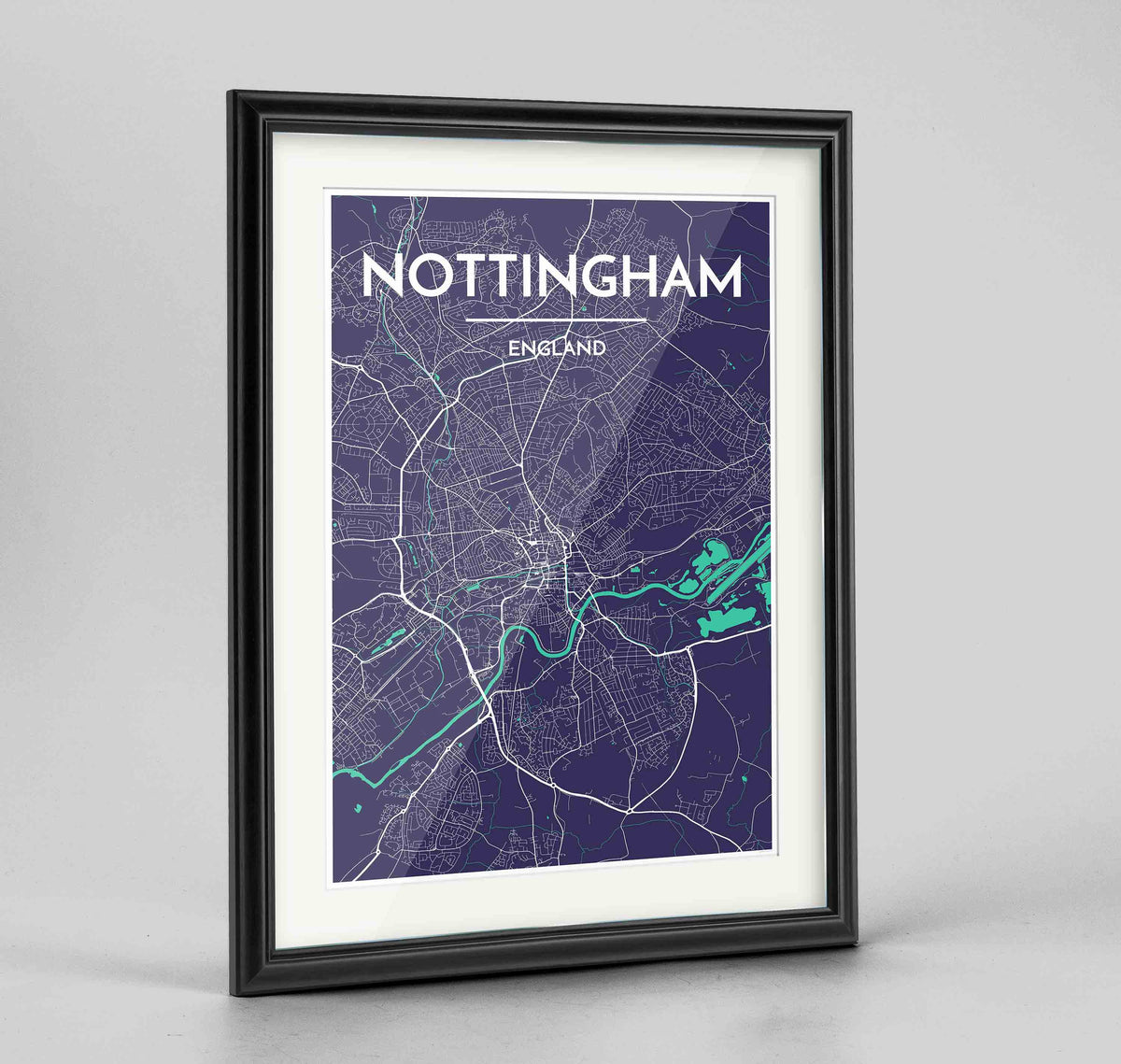 "Framed Nottingham Map Art Print 24x36"" Traditional Black frame Point Two Design Group"