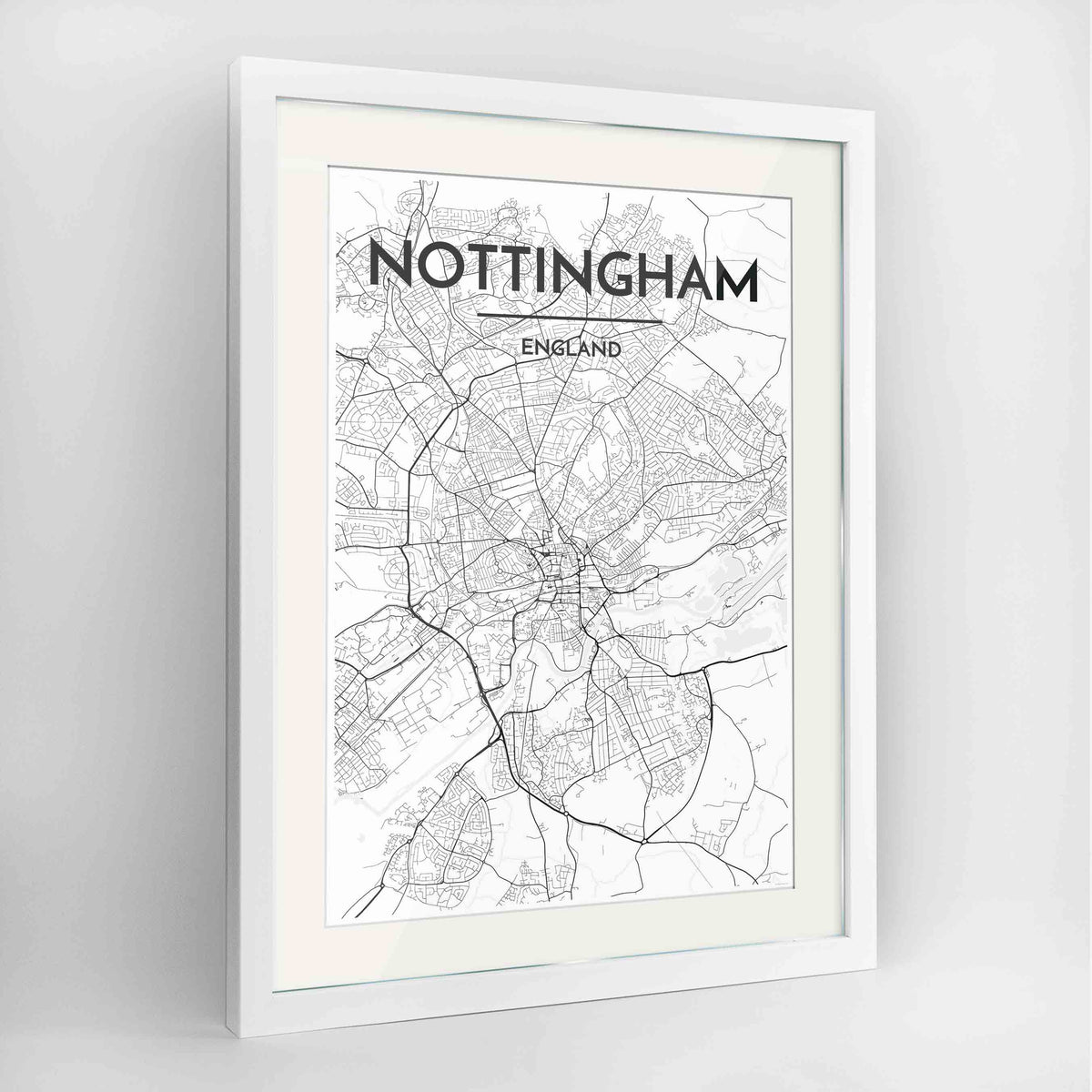 "Framed Nottingham Map Art Print 24x36"" Contemporary White frame Point Two Design Group"