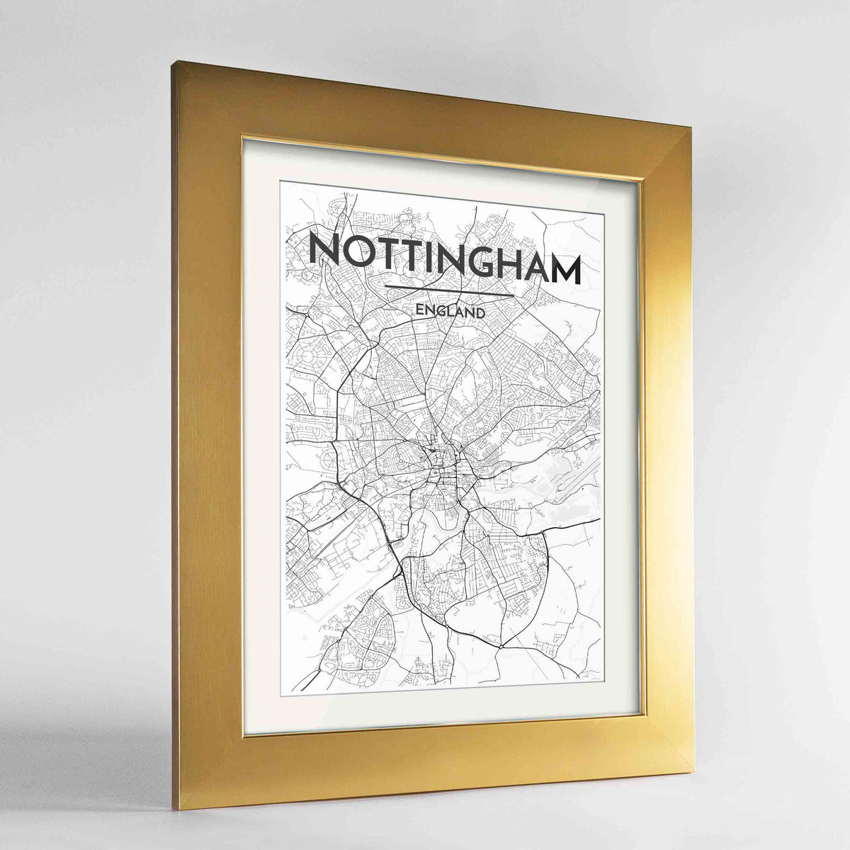 "Framed Nottingham Map Art Print 24x36"" Gold frame Point Two Design Group"