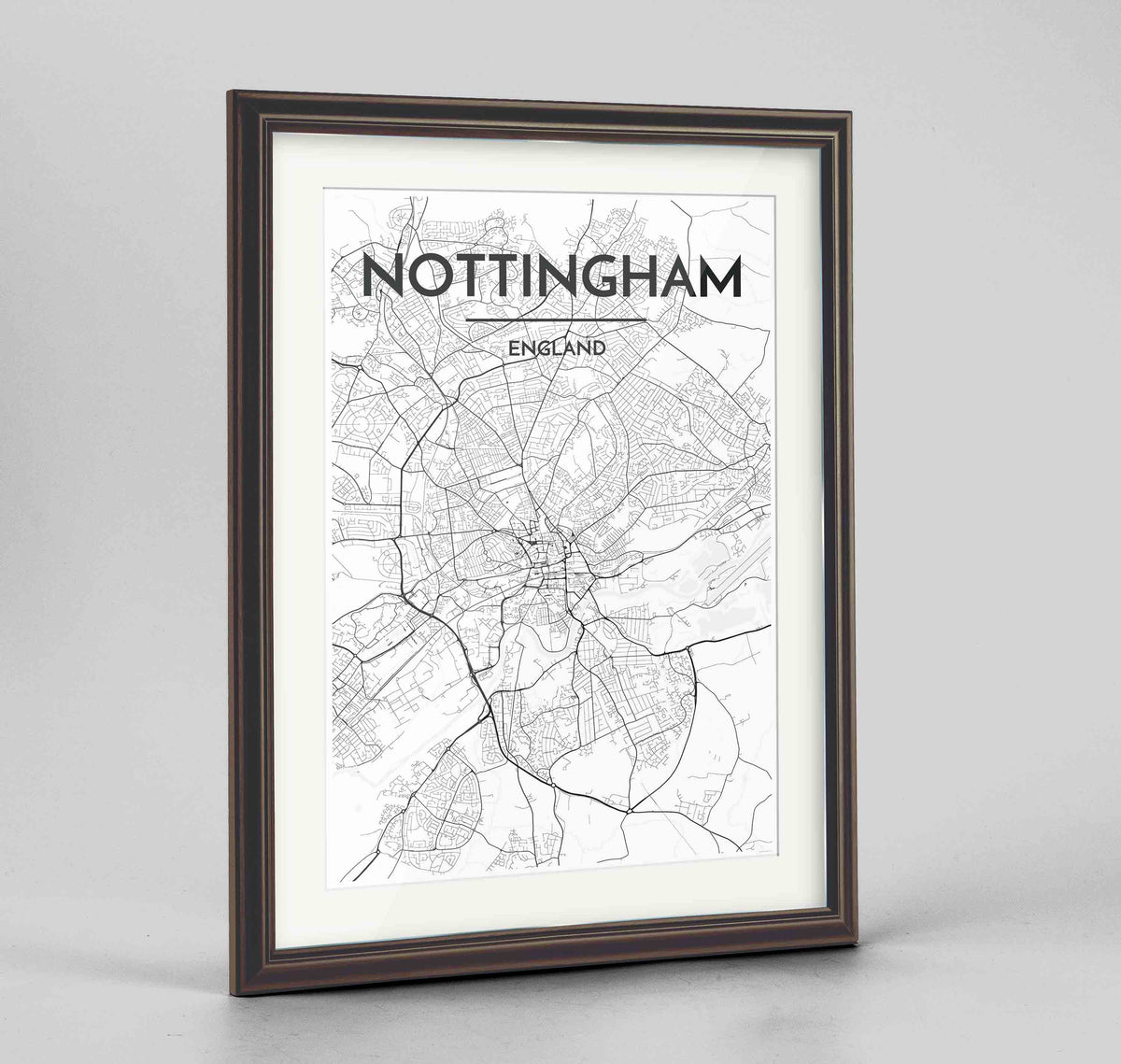 "Framed Nottingham Map Art Print 24x36"" Traditional Walnut frame Point Two Design Group"