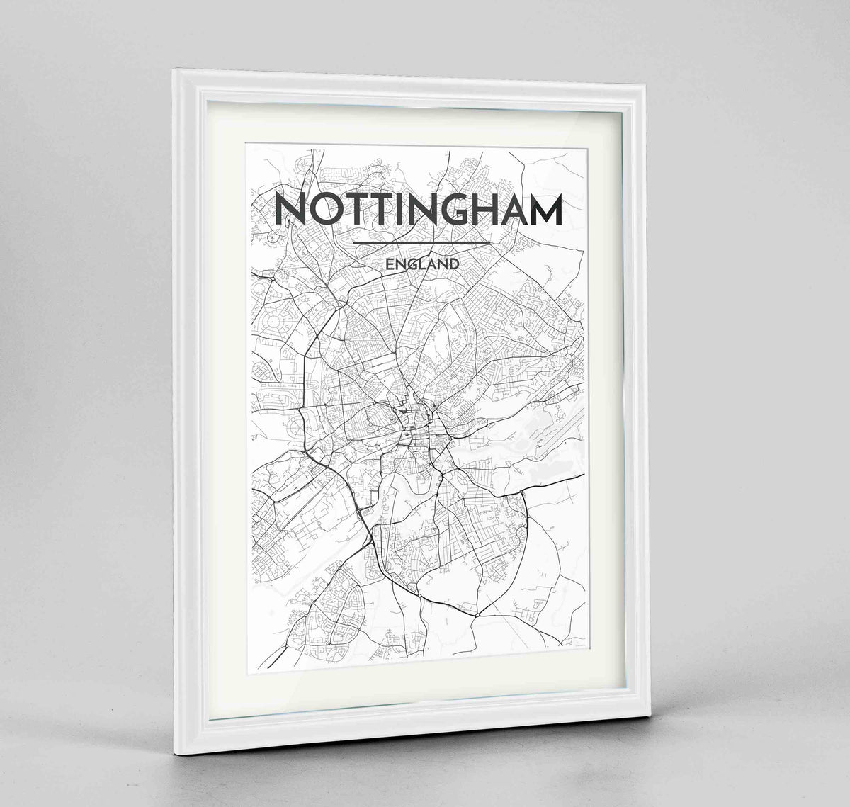 "Framed Nottingham Map Art Print 24x36"" Traditional White frame Point Two Design Group"