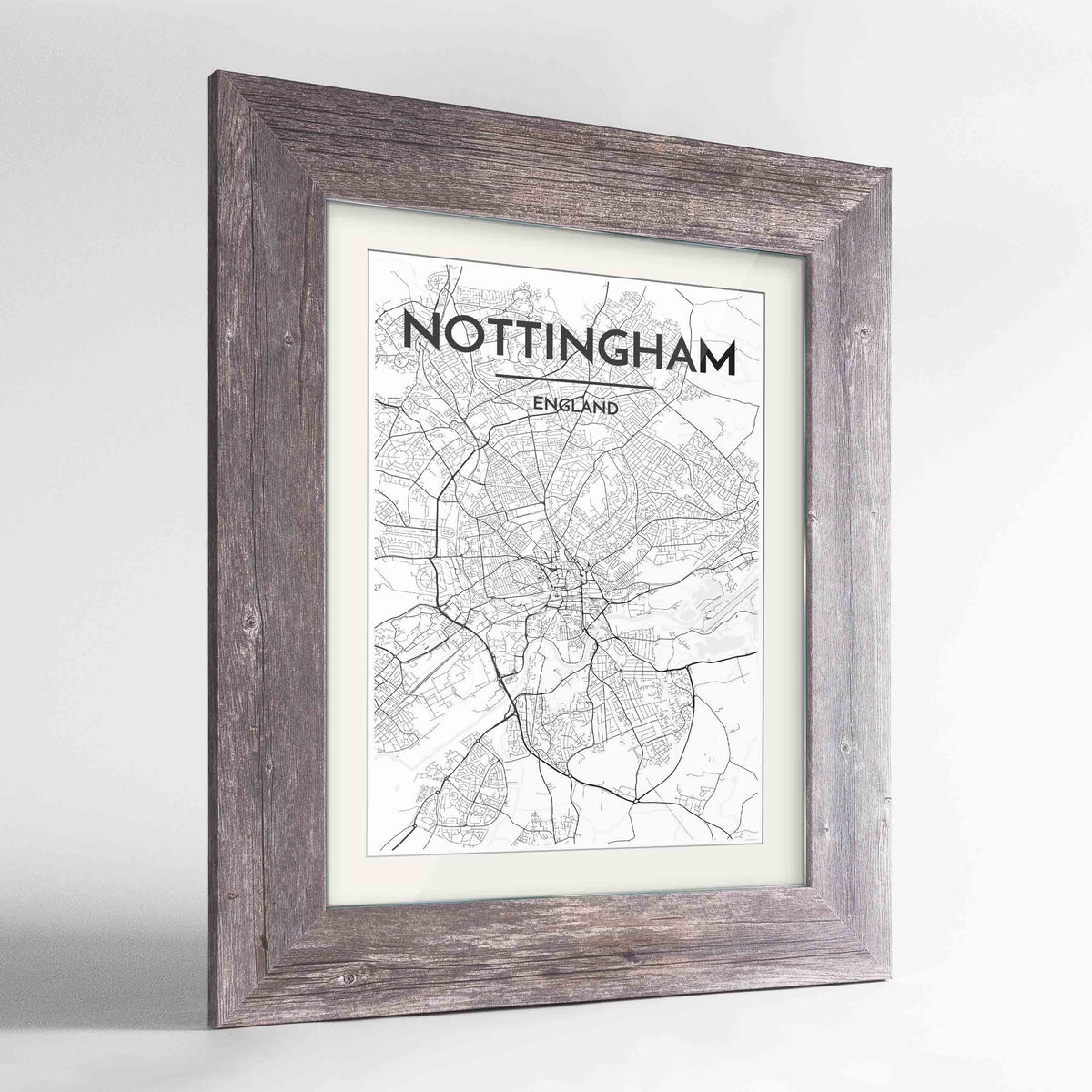 "Framed Nottingham Map Art Print 24x36"" Western Grey frame Point Two Design Group"