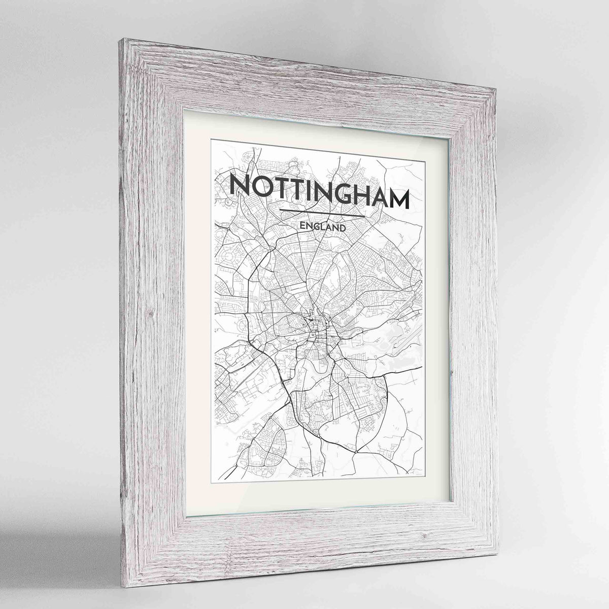 "Framed Nottingham Map Art Print 24x36"" Western White frame Point Two Design Group"