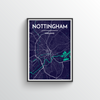 Nottingham City Map Art Print - Point Two Design - Black & White Print