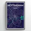 Nottingham City Map Art Print - Point Two Design