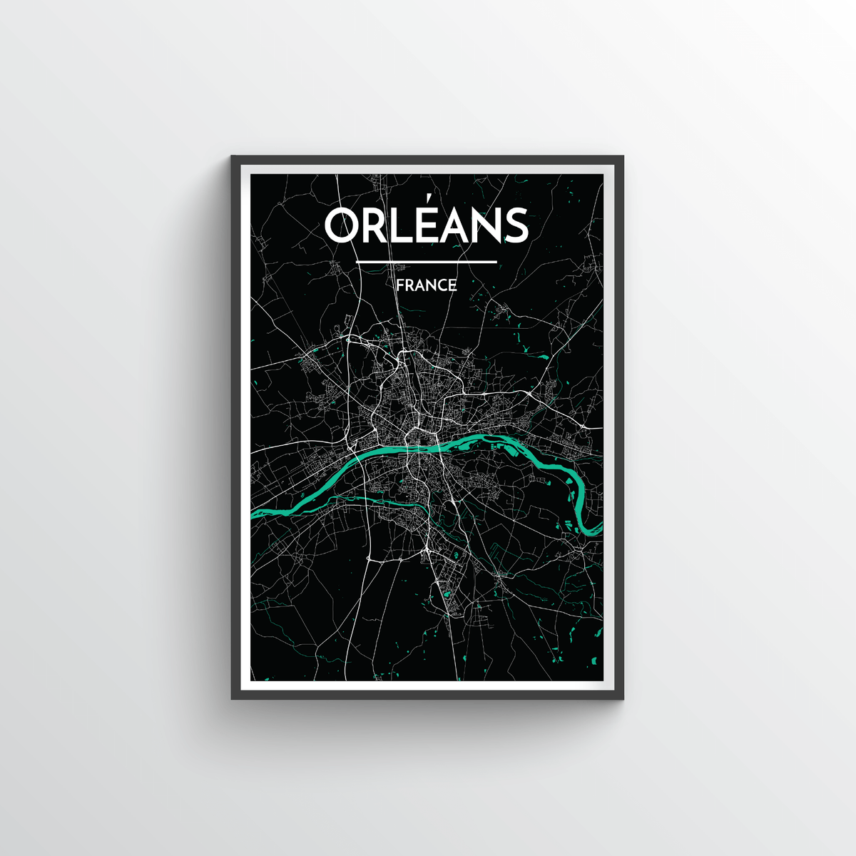 Orleans City Map Art Print - Point Two Design - Black & White Print