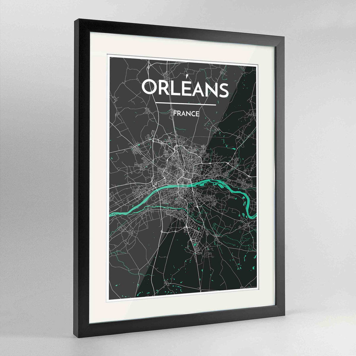 "Framed Orleans Map Art Print 24x36"" Contemporary Black frame Point Two Design Group"