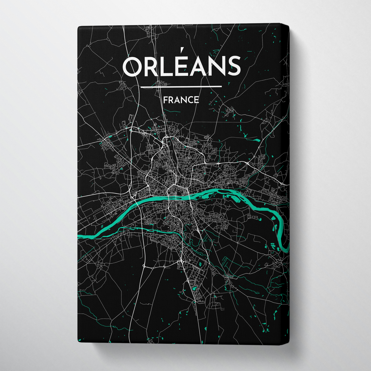 Orleans City Map Canvas Wrap - Point Two Design