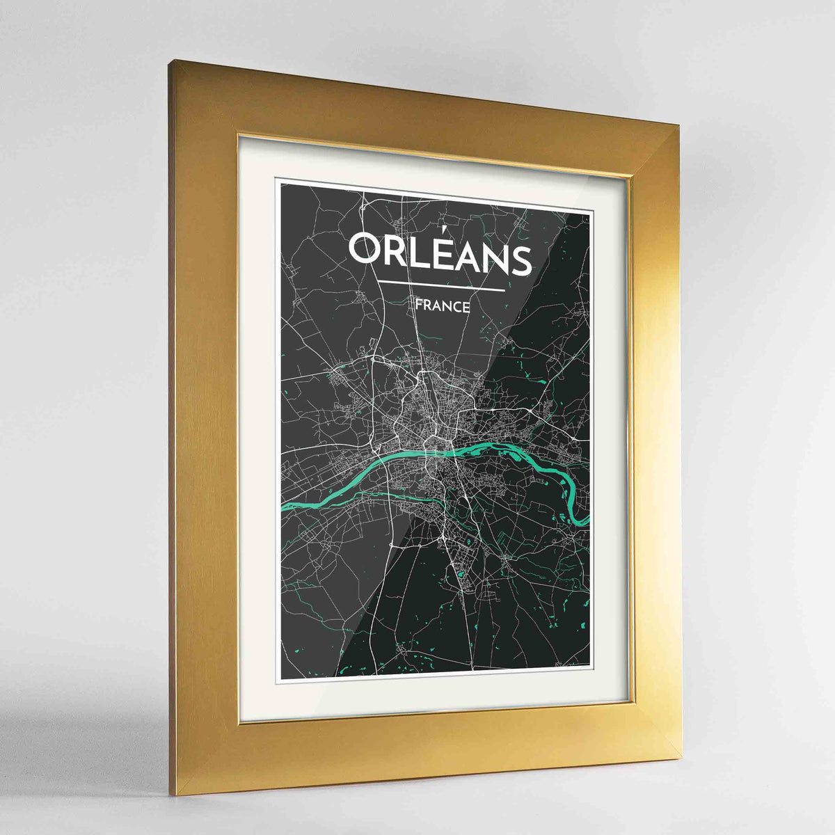 "Framed Orleans Map Art Print 24x36"" Gold frame Point Two Design Group"