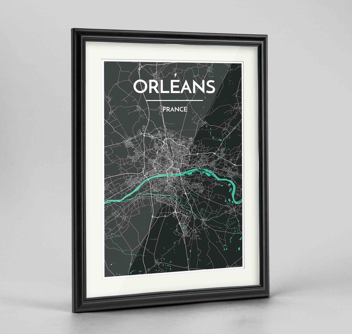 "Framed Orleans Map Art Print 24x36"" Traditional Black frame Point Two Design Group"