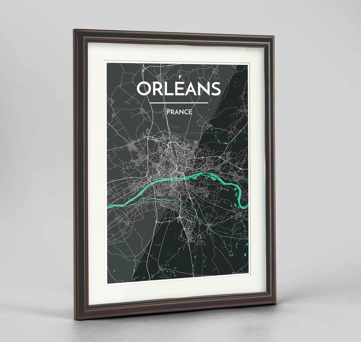 "Framed Orleans Map Art Print 24x36"" Traditional Walnut frame Point Two Design Group"