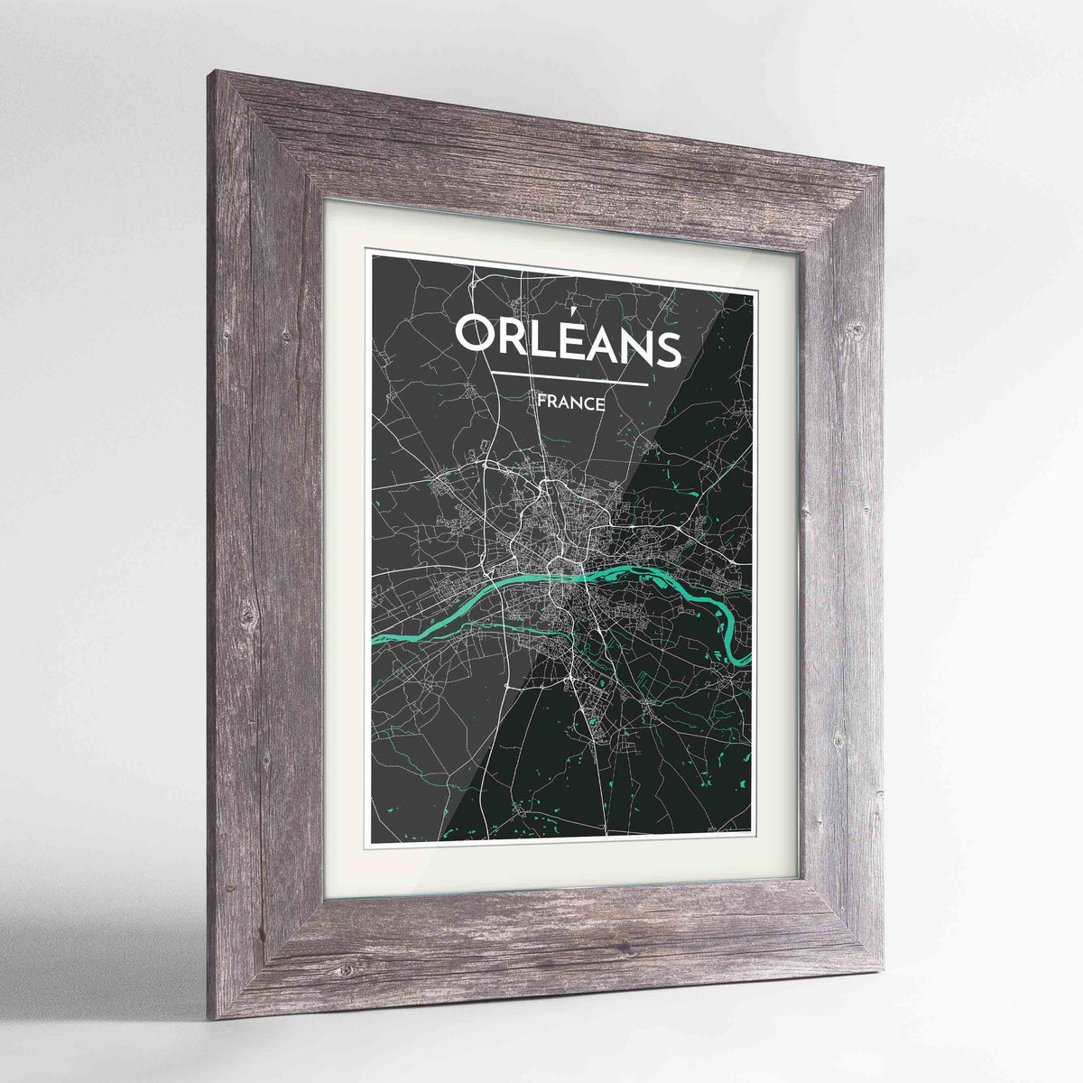 "Framed Orleans Map Art Print 24x36"" Western Grey frame Point Two Design Group"