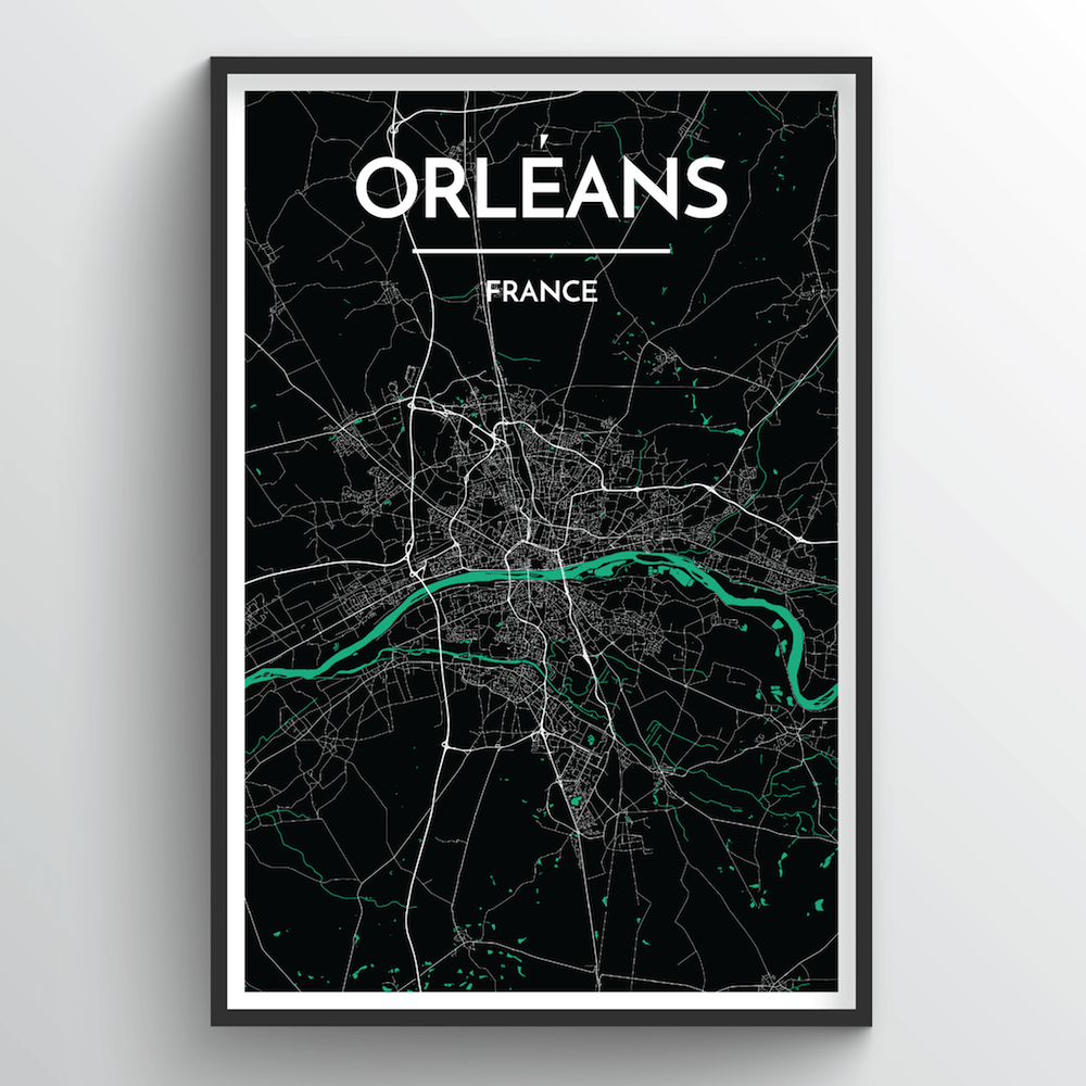 Orleans City Map Art Print - Point Two Design