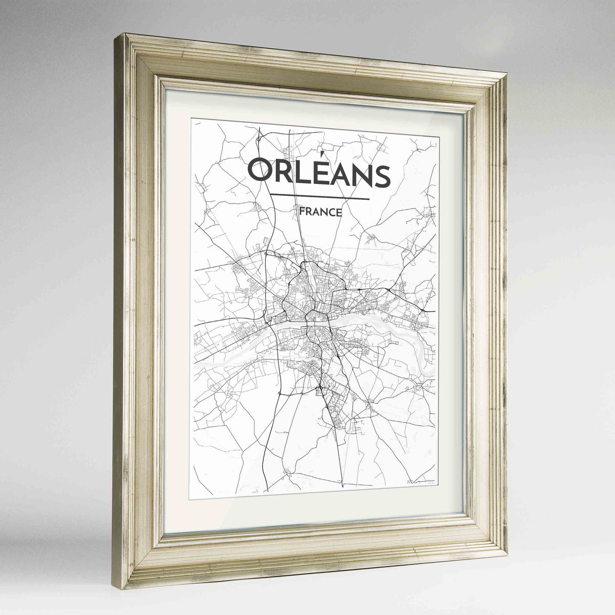 "Framed Orleans Map Art Print 24x36"" Champagne frame Point Two Design Group"