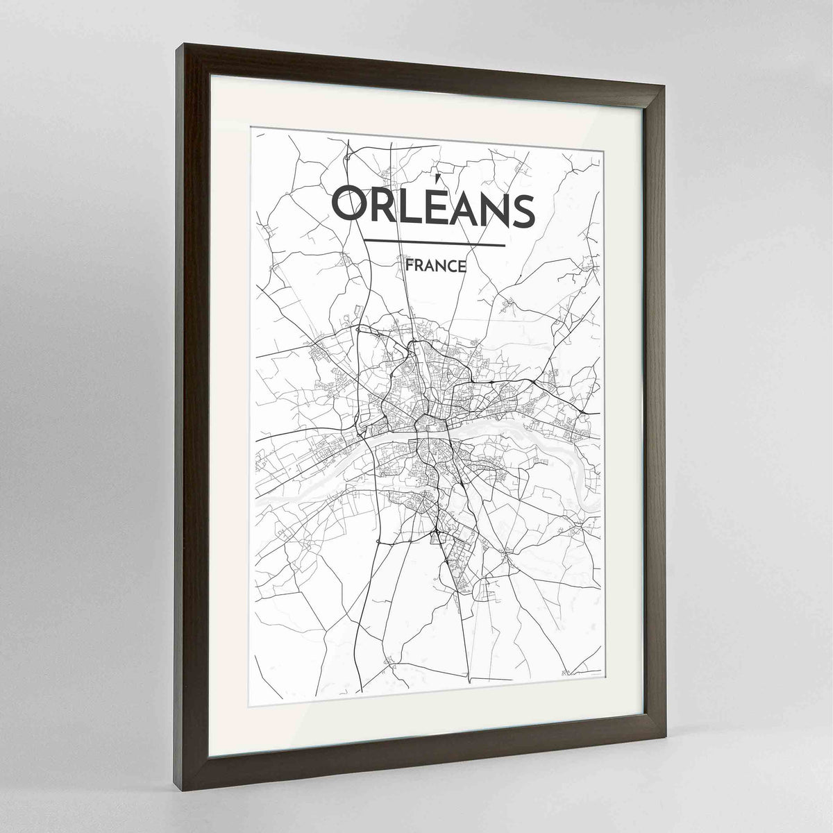 "Framed Orleans Map Art Print 24x36"" Contemporary Walnut frame Point Two Design Group"