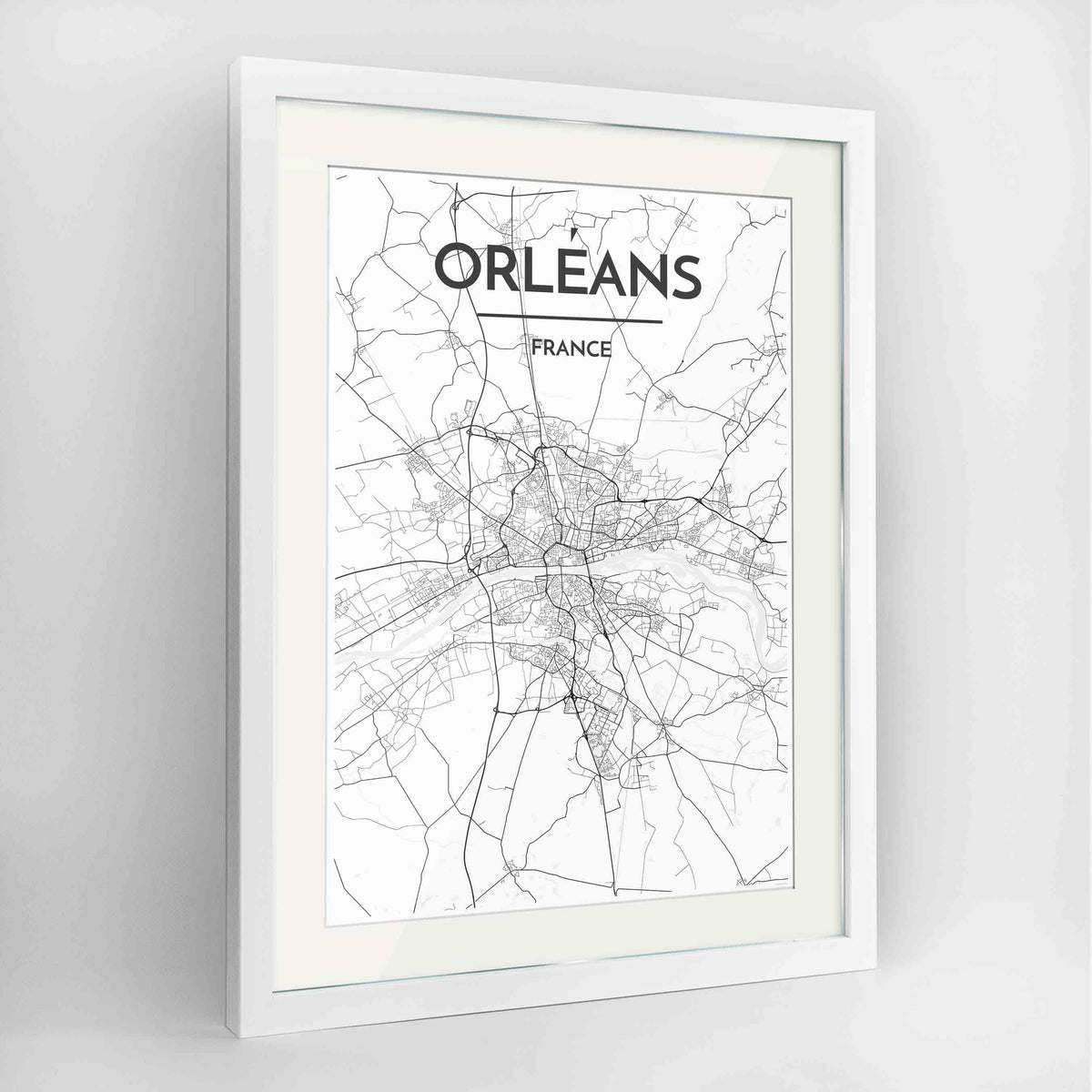 "Framed Orleans Map Art Print 24x36"" Contemporary White frame Point Two Design Group"