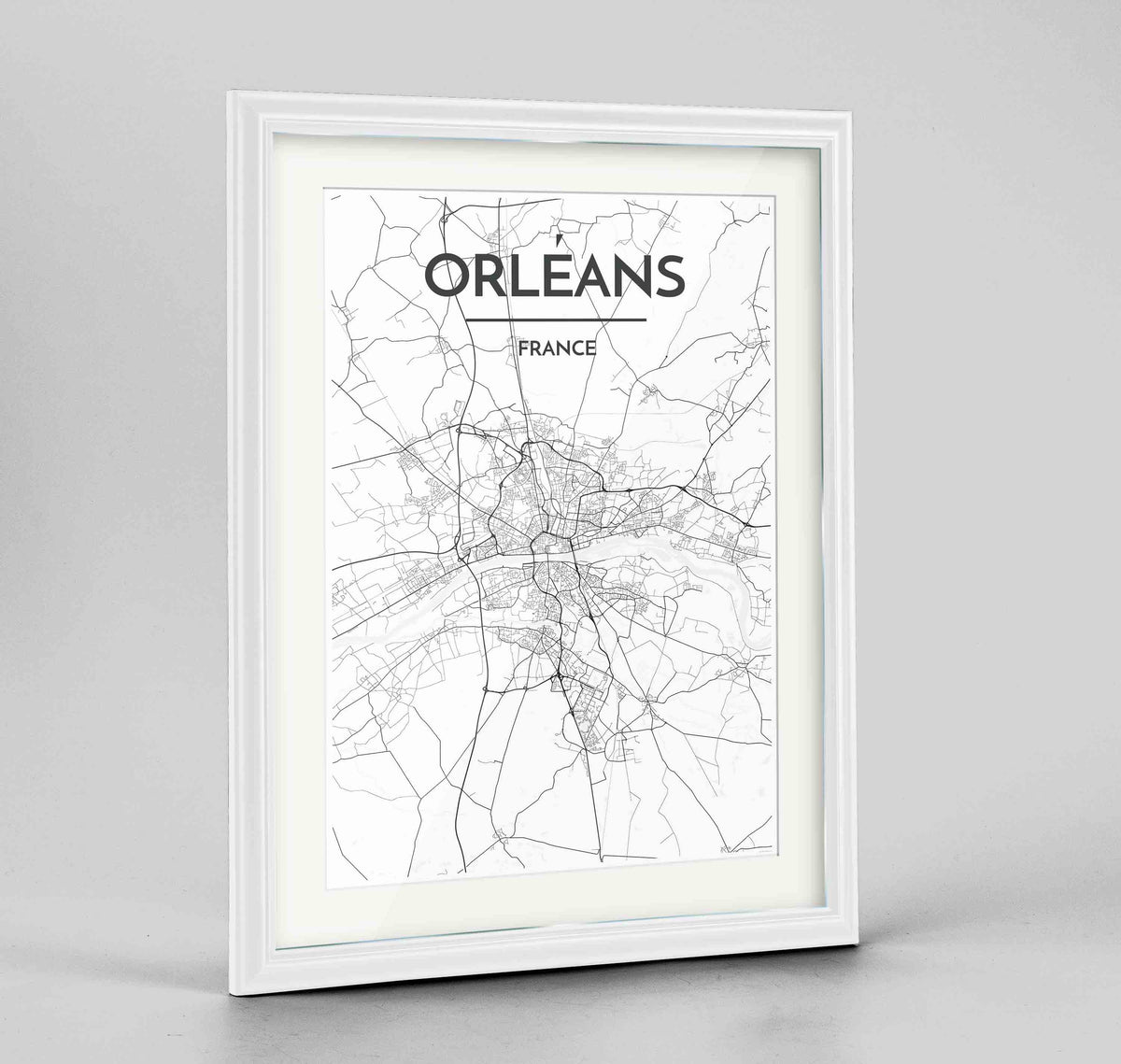 "Framed Orleans Map Art Print 24x36"" Traditional White frame Point Two Design Group"