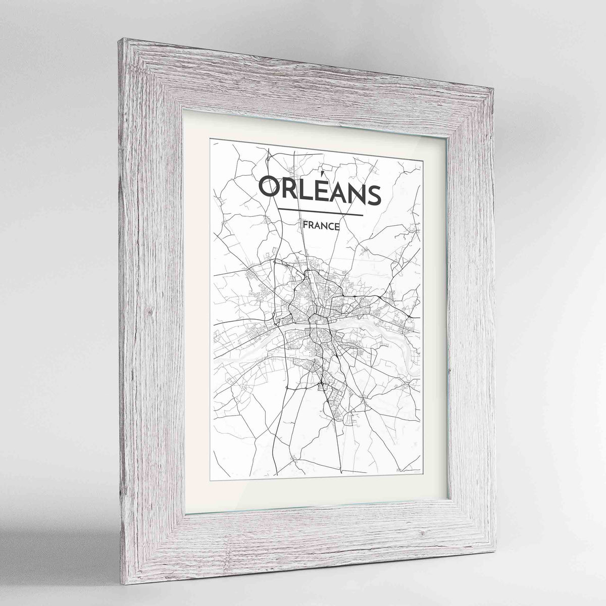 "Framed Orleans Map Art Print 24x36"" Western White frame Point Two Design Group"