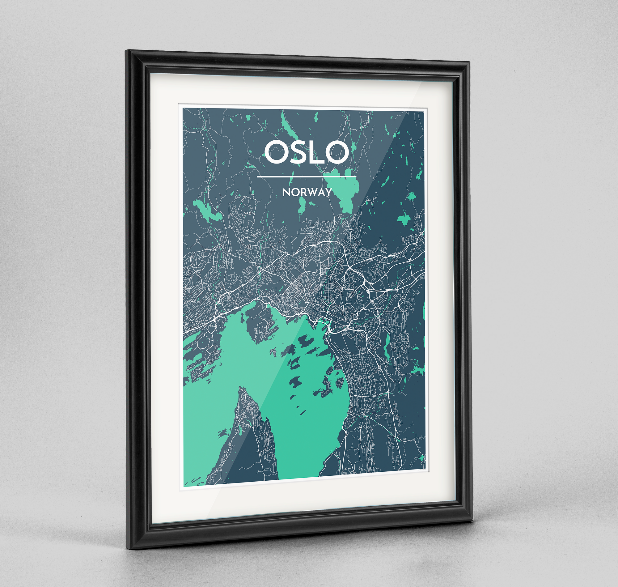 Framed Oslo City Map Art Print - Point Two Design