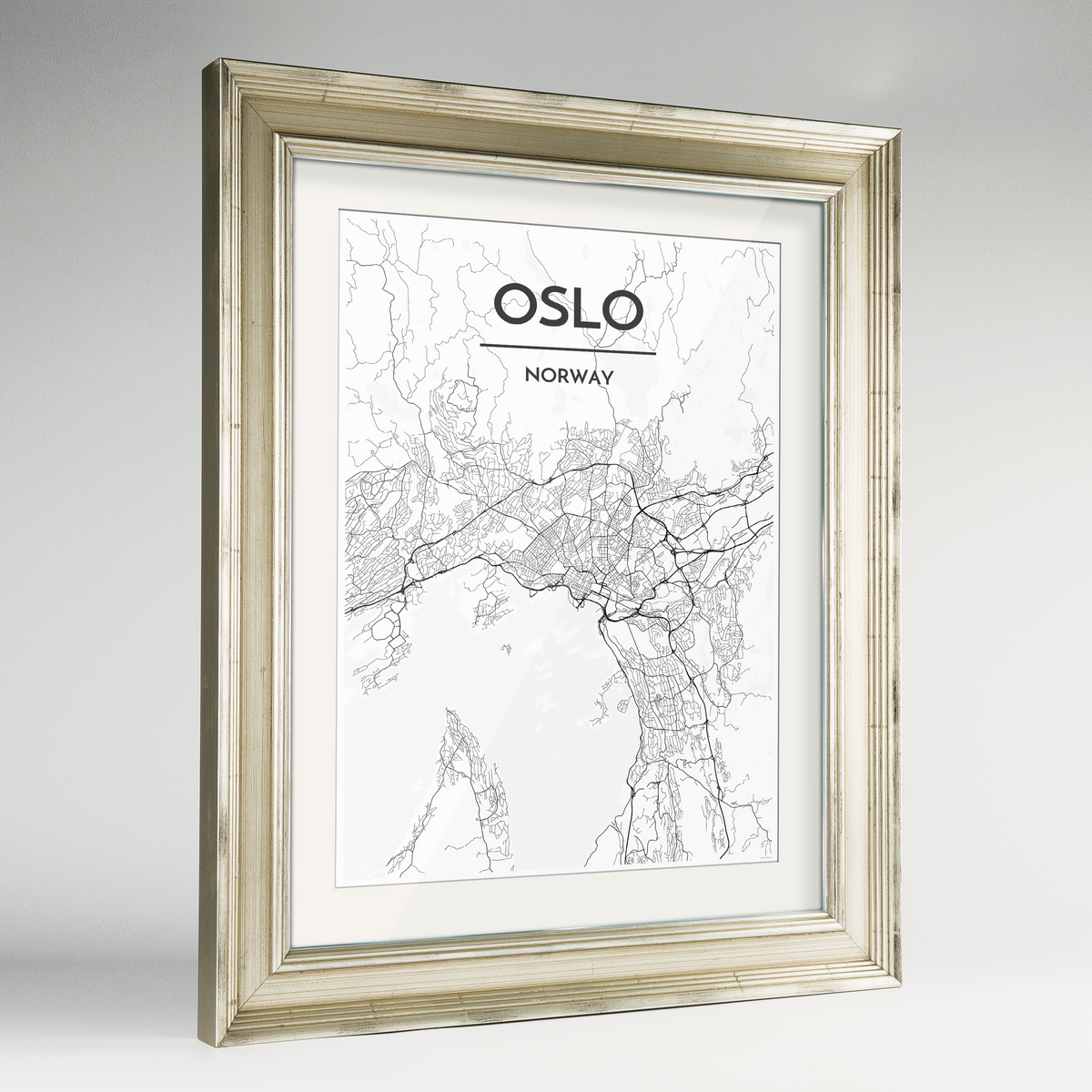 Oslo Map Art Print - Framed