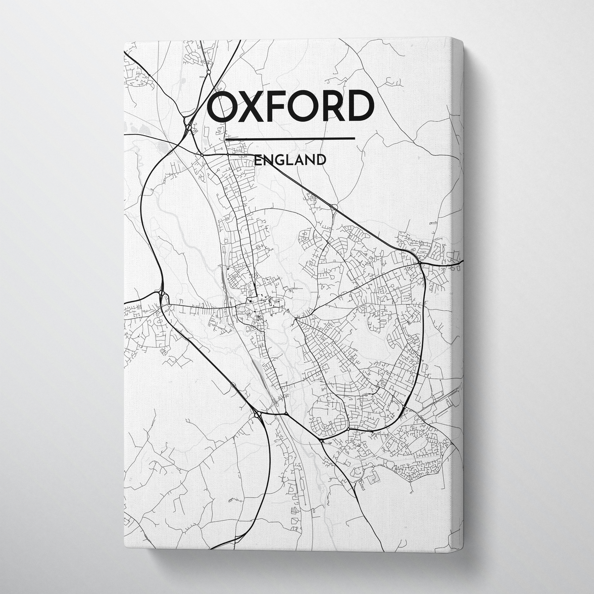 Oxford City Map Canvas Wrap - Point Two Design - Black & White Print