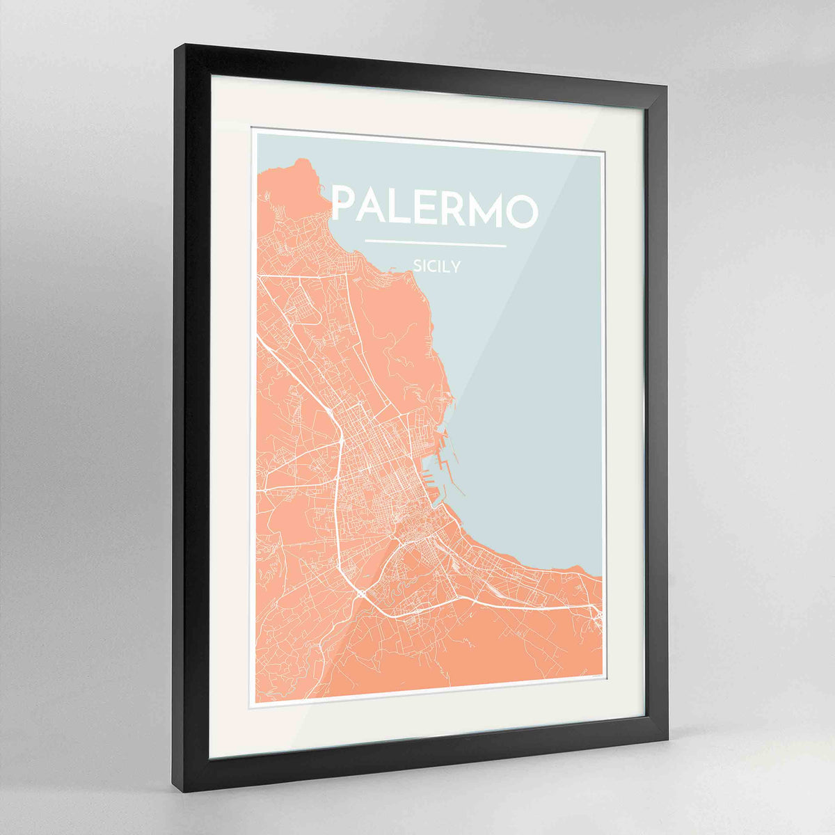 "Framed Palermo Map Art Print 24x36"" Contemporary Black frame Point Two Design Group"