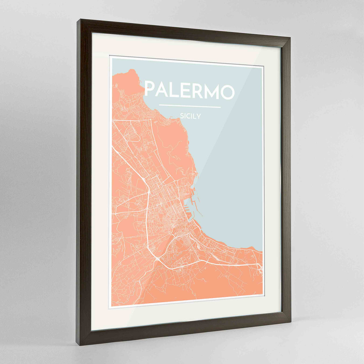 "Framed Palermo Map Art Print 24x36"" Contemporary Walnut frame Point Two Design Group"