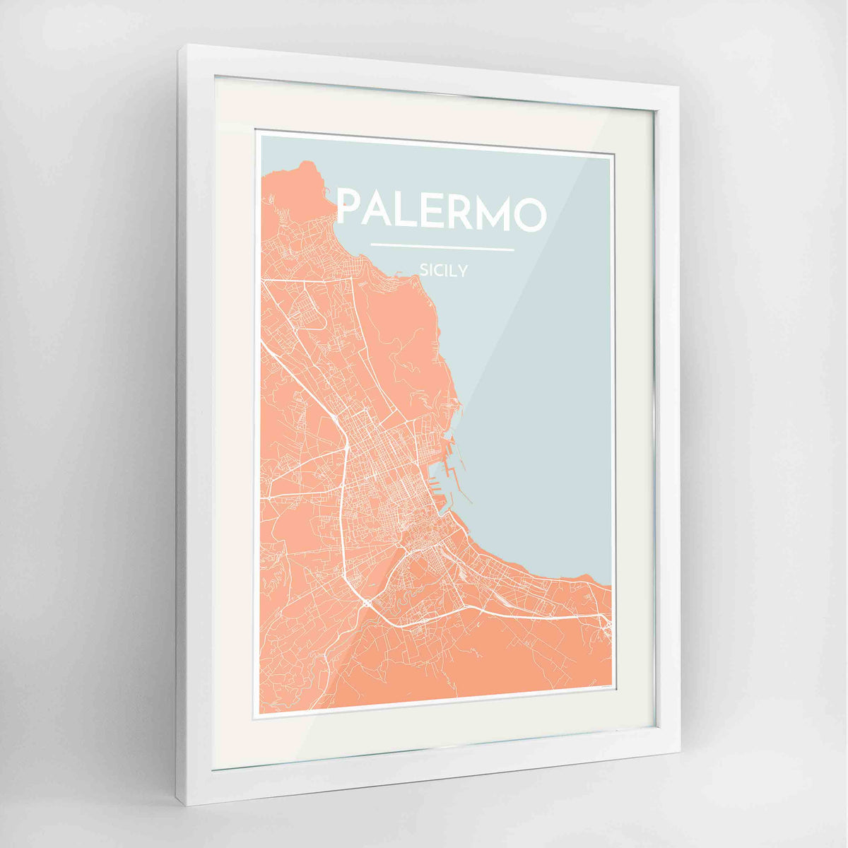 "Framed Palermo Map Art Print 24x36"" Contemporary White frame Point Two Design Group"