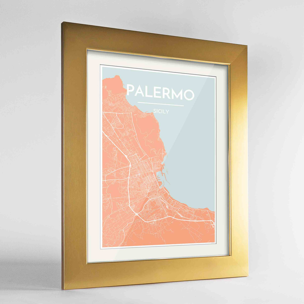"Framed Palermo Map Art Print 24x36"" Gold frame Point Two Design Group"