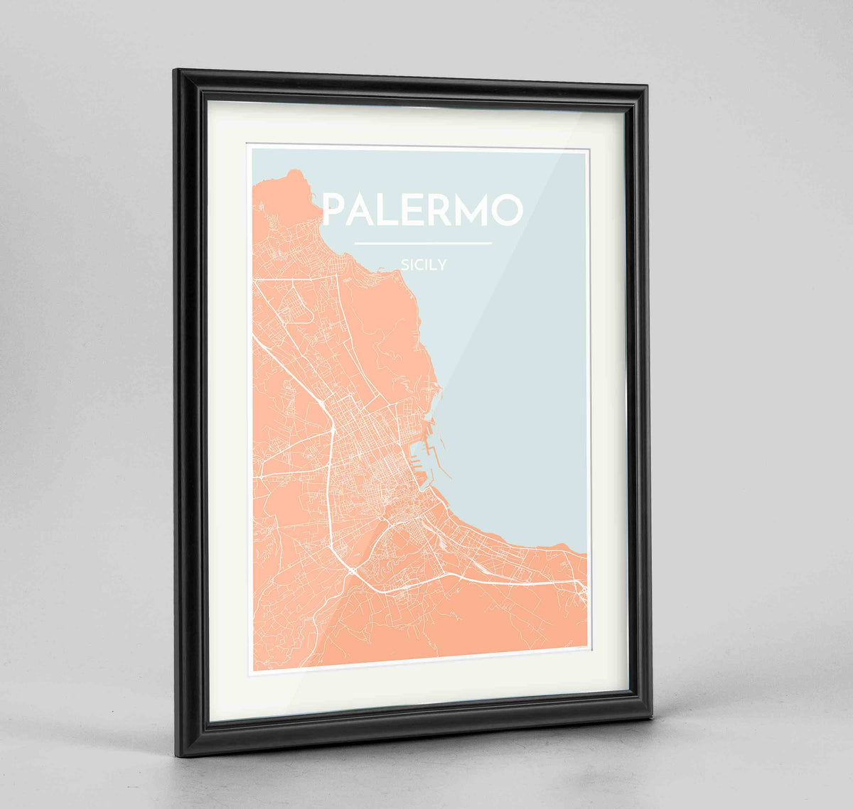 "Framed Palermo Map Art Print 24x36"" Traditional Black frame Point Two Design Group"