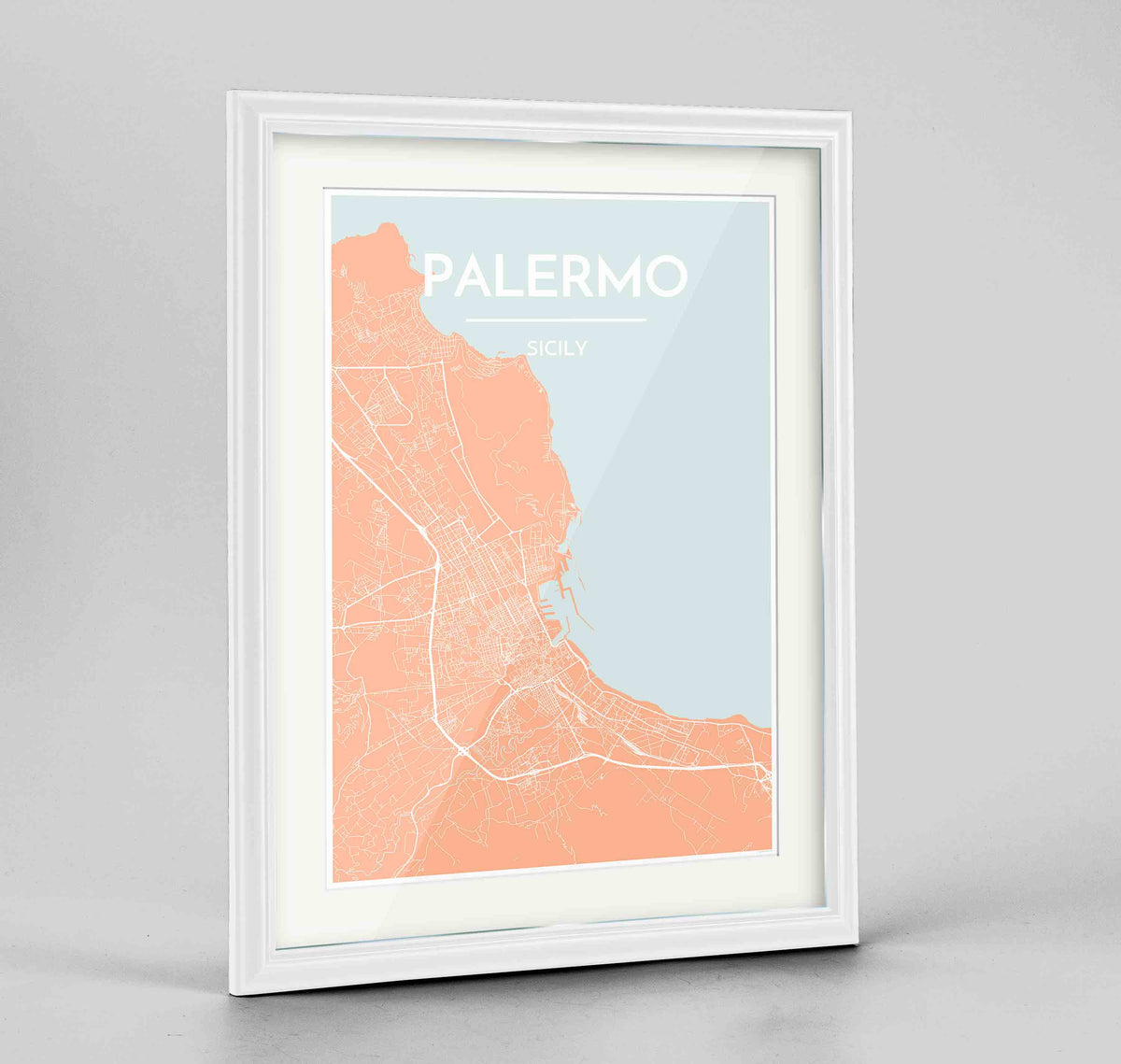 "Framed Palermo Map Art Print 24x36"" Traditional White frame Point Two Design Group"