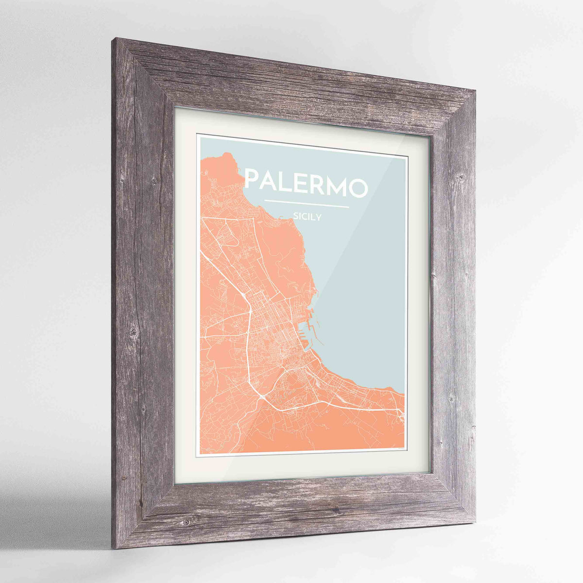 "Framed Palermo Map Art Print 24x36"" Western Grey frame Point Two Design Group"