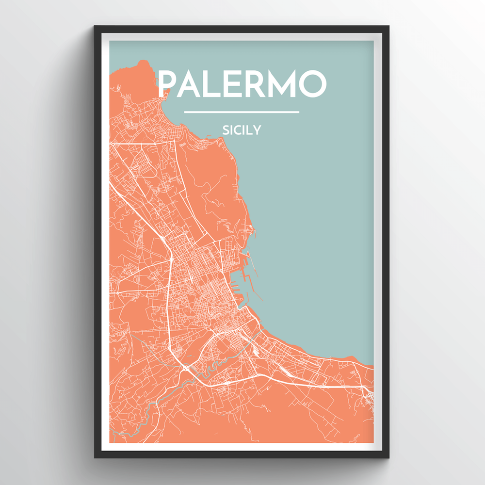 Palermo City Map Art Print - Point Two Design