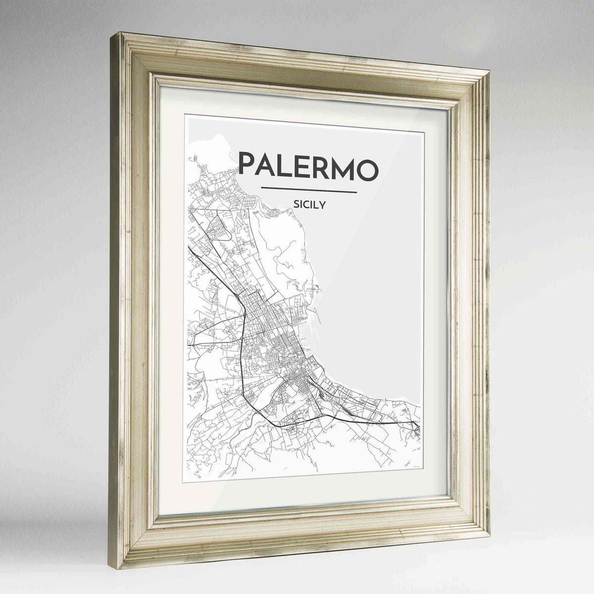 "Framed Palermo Map Art Print 24x36"" Champagne frame Point Two Design Group"