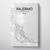 Palermo City Map Canvas Wrap - Point Two Design - Black & White Print