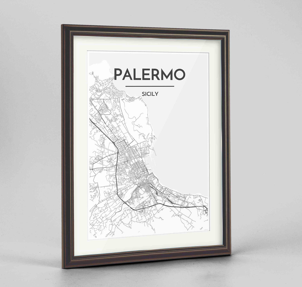 "Framed Palermo Map Art Print 24x36"" Traditional Walnut frame Point Two Design Group"