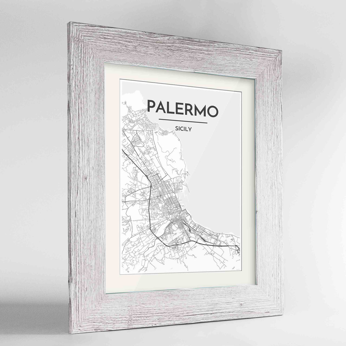 "Framed Palermo Map Art Print 24x36"" Western White frame Point Two Design Group"