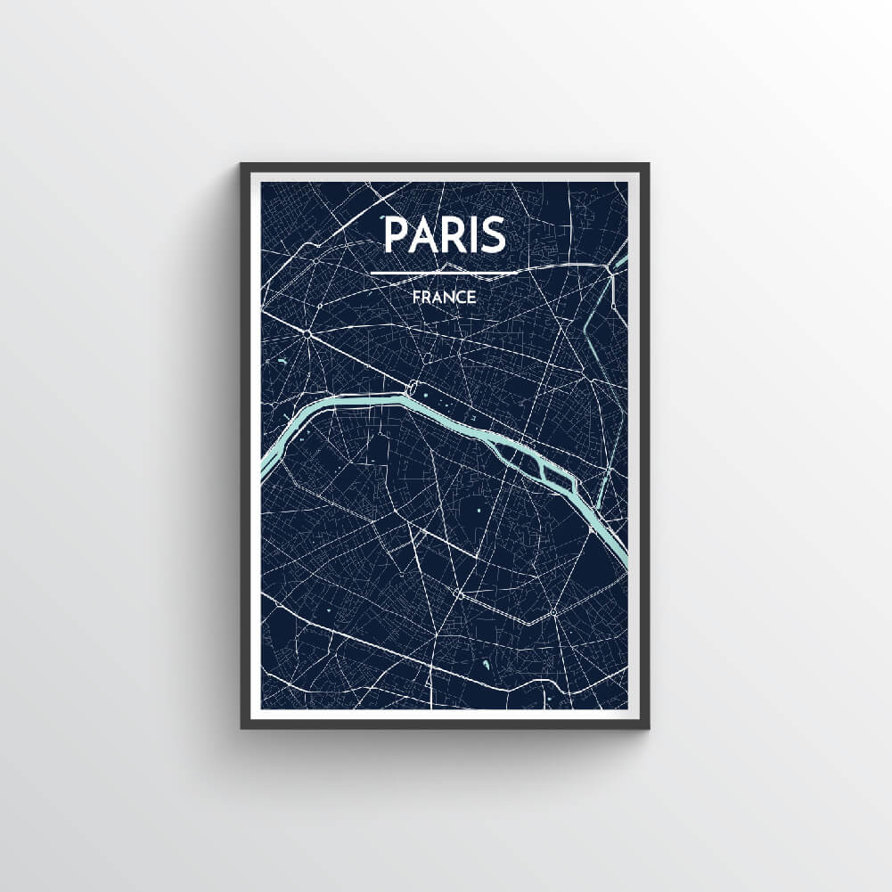 Paris City Map Art Print - Point Two Design - Black & White Print