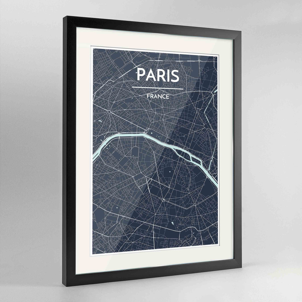 "Framed Paris Map Art Print 24x36"" Contemporary Black frame Point Two Design Group"