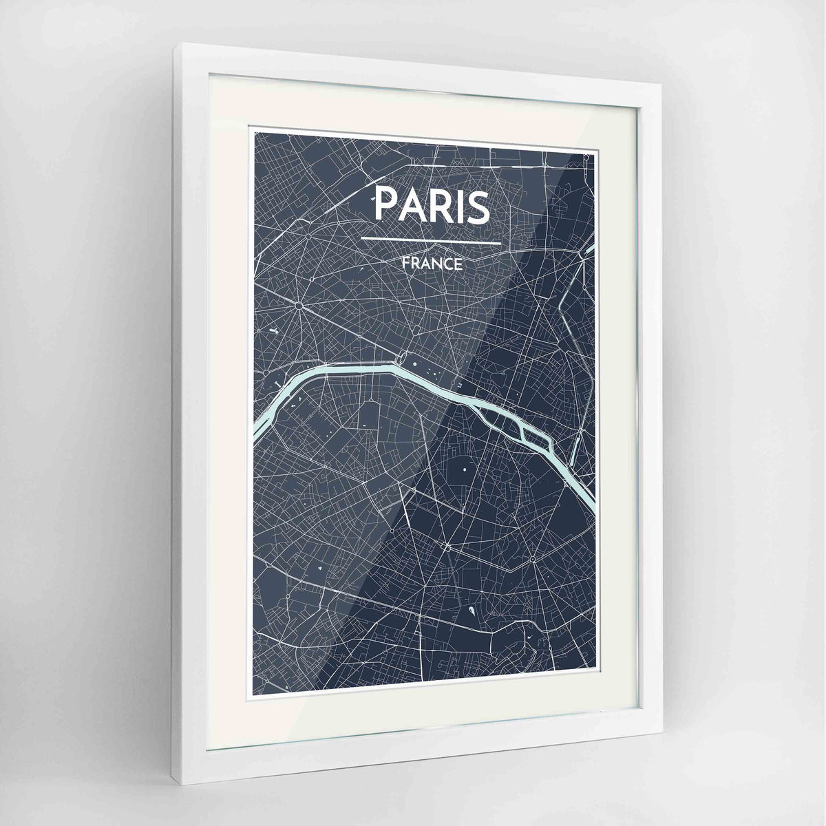 "Framed Paris Map Art Print 24x36"" Contemporary White frame Point Two Design Group"