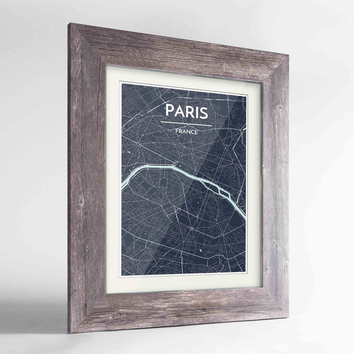 "Framed Paris Map Art Print 24x36"" Western Grey frame Point Two Design Group"