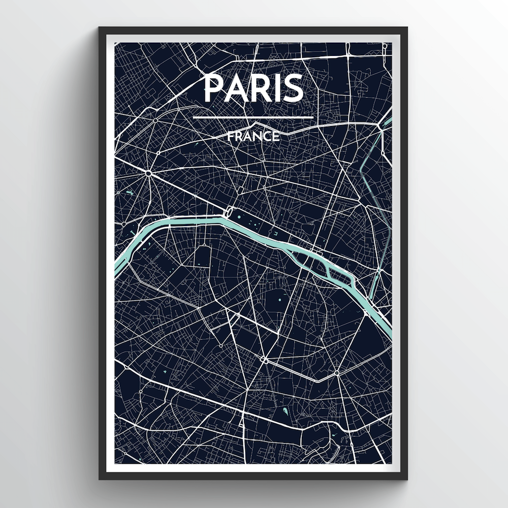 Paris City Map Art Print - Point Two Design