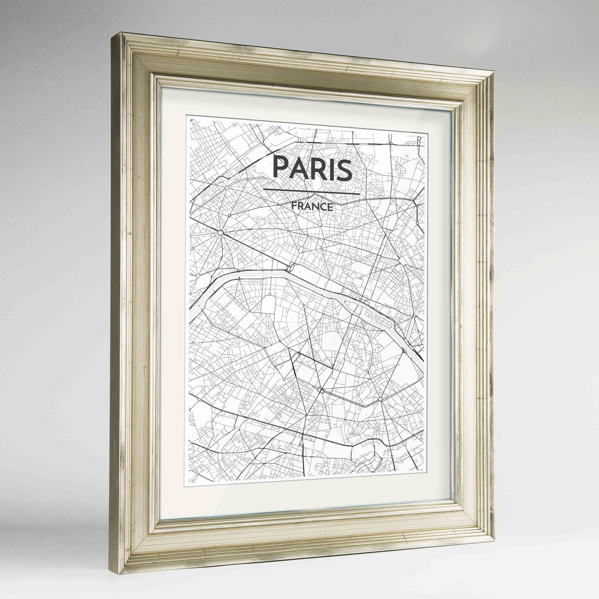 "Framed Paris Map Art Print 24x36"" Champagne frame Point Two Design Group"