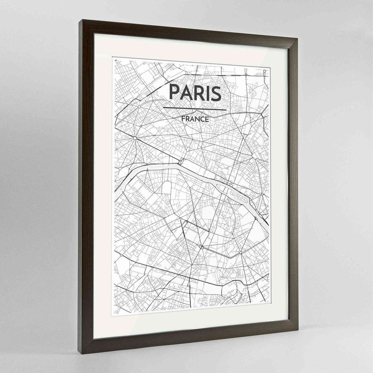 "Framed Paris Map Art Print 24x36"" Contemporary Walnut frame Point Two Design Group"