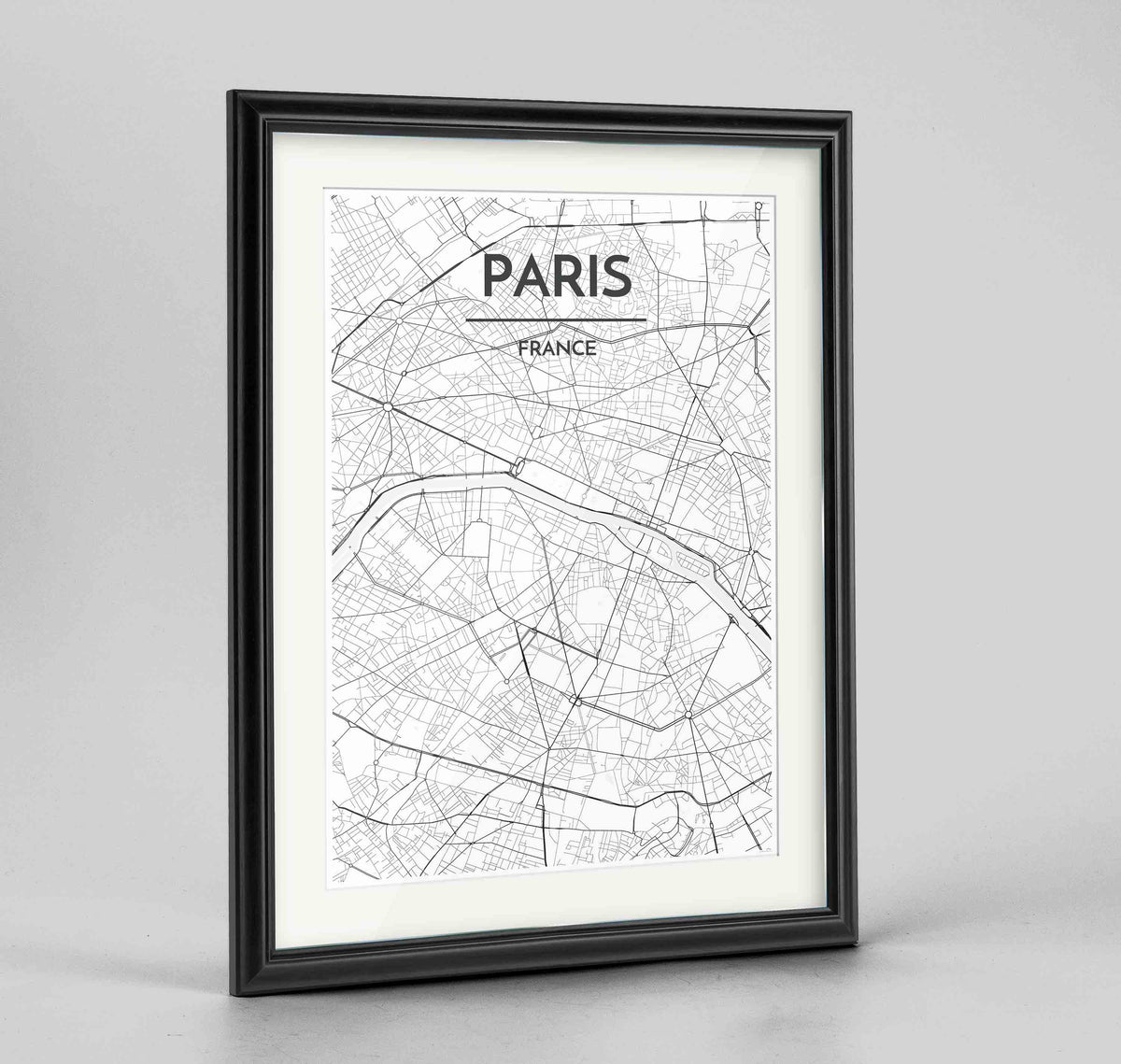 "Framed Paris Map Art Print 24x36"" Traditional Black frame Point Two Design Group"