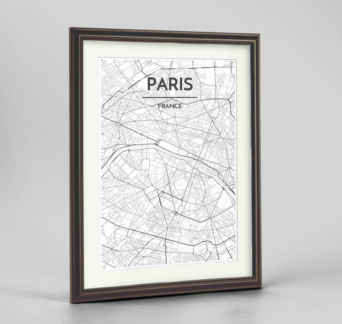 "Framed Paris Map Art Print 24x36"" Traditional Walnut frame Point Two Design Group"