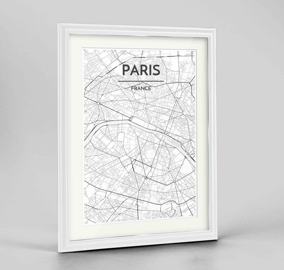 "Framed Paris Map Art Print 24x36"" Traditional White frame Point Two Design Group"